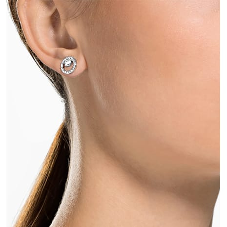 Boucles d'oreilles Creativity Circle, blanc, Métal rhodié - Swarovski, 5201707