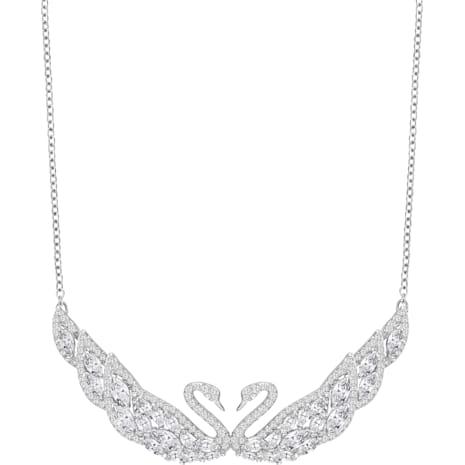 Swan Lake 項鏈, 白色, 鍍白金色 - Swarovski, 5201962