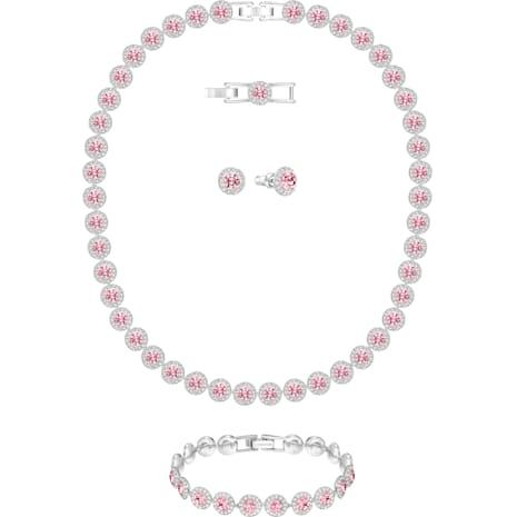 Angelic All Around 세트, 핑크, 로듐 플래팅 - Swarovski, 5203018