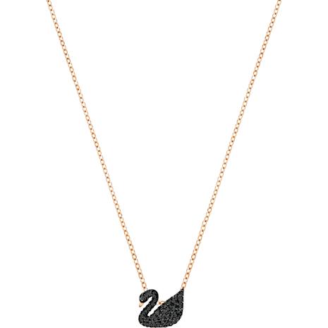 Colgante Swarovski Iconic Swan, negro, Baño en tono Oro Rosa - Swarovski, 5204133