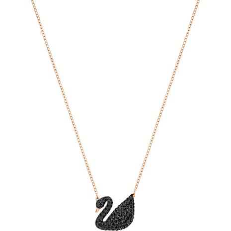 Swarovski Iconic Swan Kolye Ucu, Siyah, Pembe altın rengi kaplama - Swarovski, 5204134