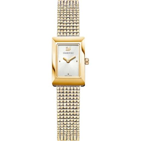 Montre Memories, Bracelet mailles, blanc, PVD doré - Swarovski, 5209181