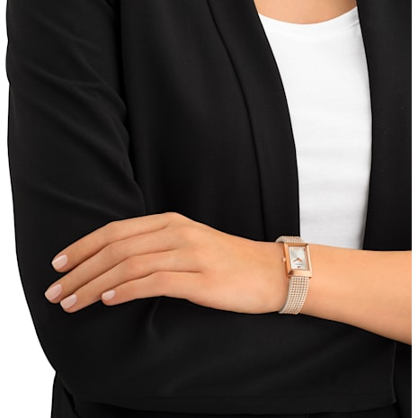 Memories 手錶, 網布錶帶, 白色, 玫瑰金色調PVD - Swarovski, 5209184