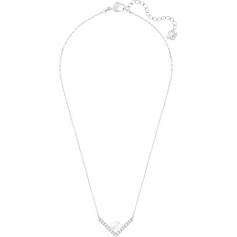 Collana Edify, piccola, bianco, placcatura rodio - Swarovski, 5213361