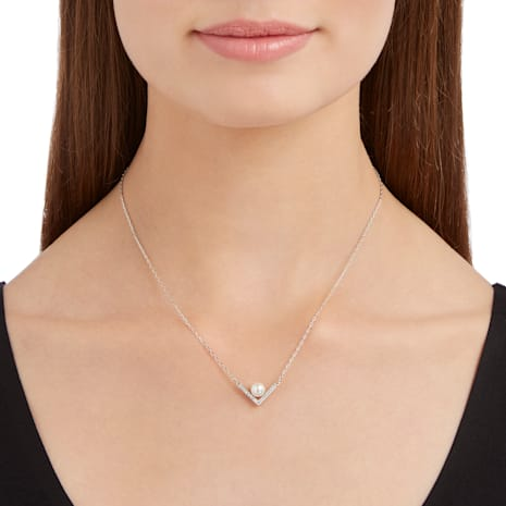 Edify Necklace, Small, White, Rhodium plating - Swarovski, 5213361