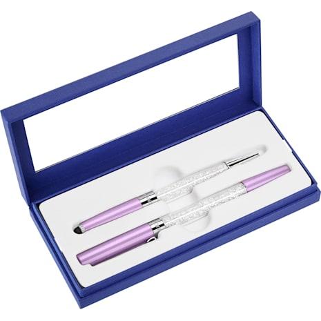 Crystalline Stardust Stylus Ballpoint pen and Rollerball pen Set, Light Lilac - Swarovski, 5213609