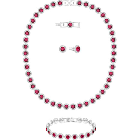 Parure Angelic All Around, rouge, métal rhodié - Swarovski, 5217807