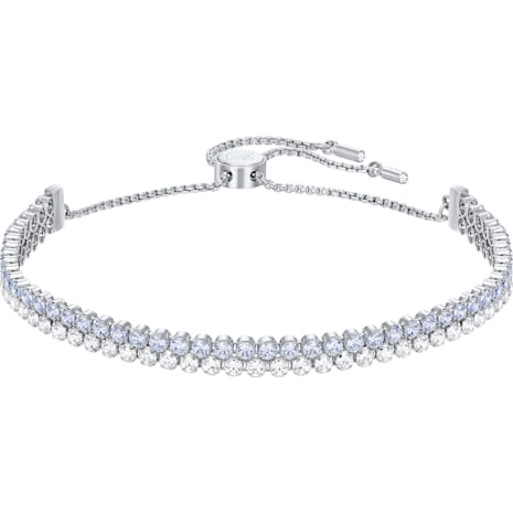 Subtle Double Bracelet, Blue, Rhodium Plating - Swarovski, 5224178