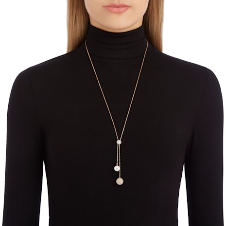 Forward Y Necklace, Small, White, Rose-gold tone plated - Swarovski, 5230553