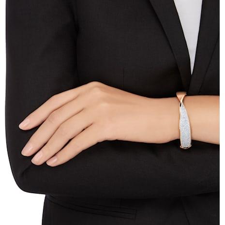 Bracelet-jonc Freedom Narrow, blanc, Métal doré rose - Swarovski, 5236115