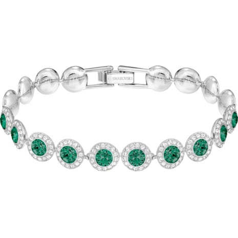 Angelic Bracelet, Green, Rhodium plated - Swarovski, 5237769