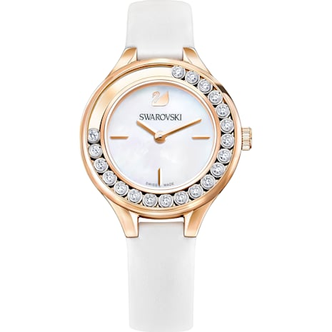 Lovely Crystals Mini Uhr, Lederarmband, weiss, roséfarben - Swarovski, 5242904