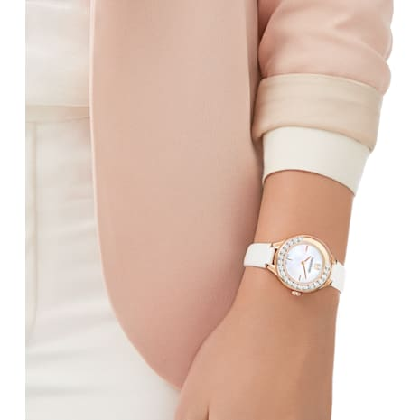 Lovely Crystals Mini Watch, Leather strap, White, Rose gold tone - Swarovski, 5242904