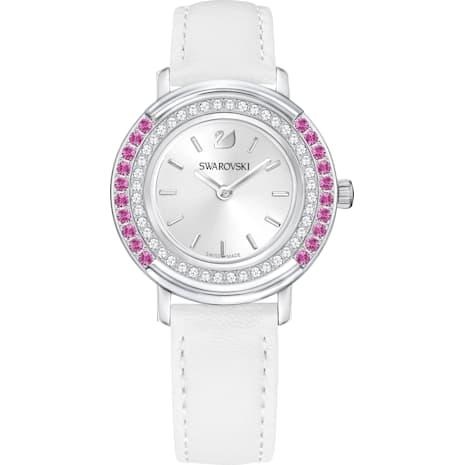 Reloj Playful Lady, Correa de piel, blanco, tono plateado - Swarovski, 5243053