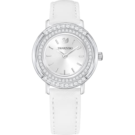 Playful Lady Watch, Leather strap, White, Silver tone - Swarovski, 5243053