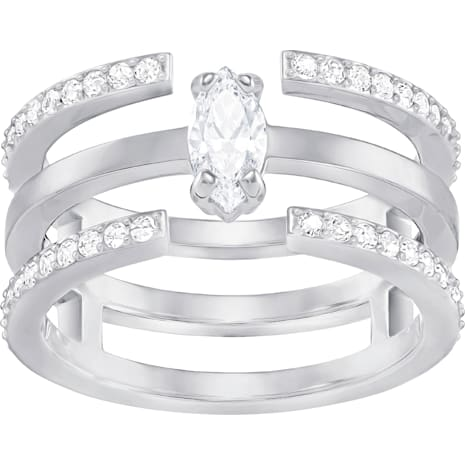Gray Ring, Medium, White, Rhodium Plating - Swarovski, 5253274