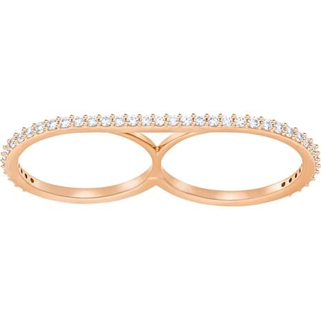 Vittore Double Ring, White, Rose-gold tone plated - Swarovski, 5253275