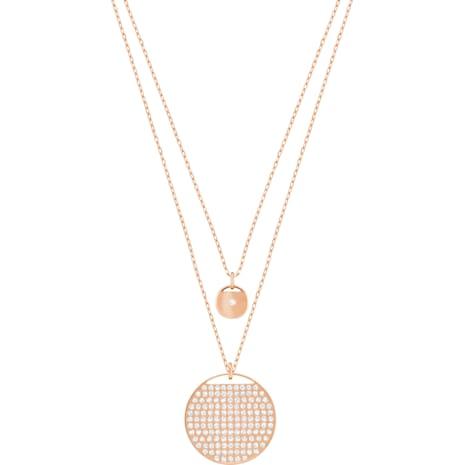 Ginger Layered Pendant, White, Rose-gold tone plated - Swarovski, 5253286