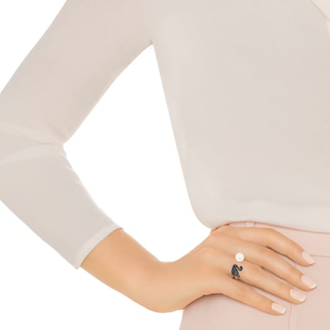Iconic Swan 開口戒指, 黑色, 鍍玫瑰金色調 - Swarovski, 5256266