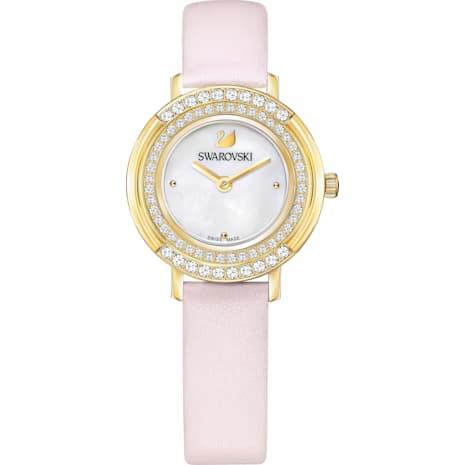 Reloj Playful Mini, Correa de piel, rosa, tono dorado - Swarovski, 5261462