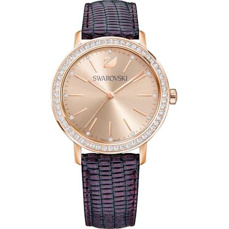 Reloj Graceful Lady, Correa de piel, violeta, tono oro rosa - Swarovski, 5261472