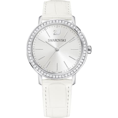 Graceful Lady Watch, Leather strap, White, Silver tone - Swarovski, 5261478