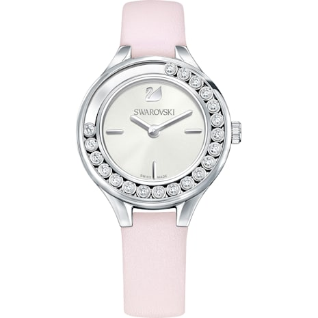 Lovely Crystals Mini Watch, Leather strap, Pink, Silver tone - Swarovski, 5261493