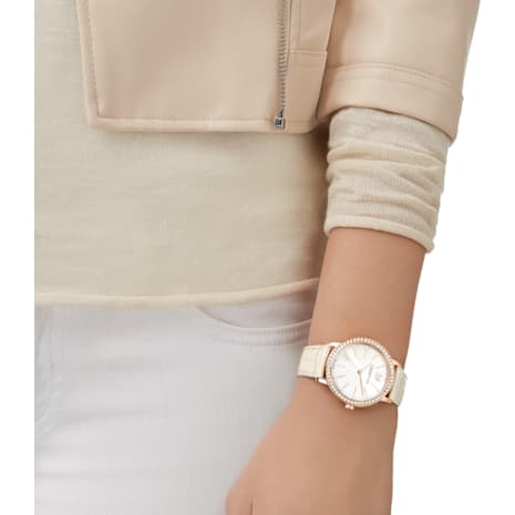 Graceful Lady Watch, Leather strap, Beige, Rose gold tone - Swarovski, 5261502