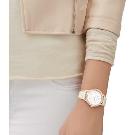 Reloj Graceful Lady, Correa de piel, beige, tono oro rosa - Swarovski, 5261502
