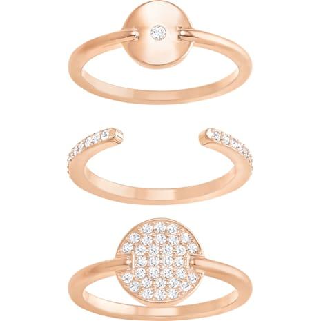 Ginger Ring Set, White, Rose-gold tone plated - Swarovski, 5266343