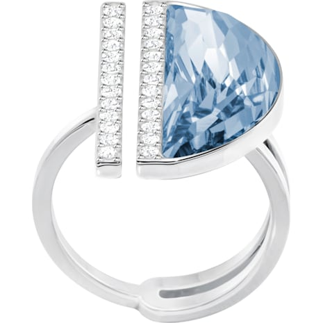 Bague Glow, bleu, métal rhodié - Swarovski, 5266703