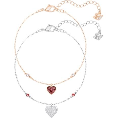 Bracelet Parure Crystal Wishes Heart, rouge, combinaison de métaux plaqués - Swarovski, 5272249
