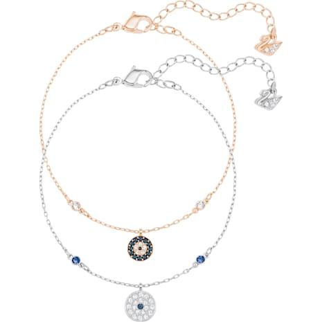 Crystal Wishes Evil Eye Bracelet Set, Blue, Mixed Plating - Swarovski, 5272256