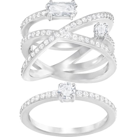 Conjunto de anillos Gray, blanco, baño de rodio - Swarovski, 5272356
