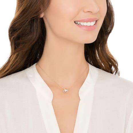Collar Swarovski Sparkling Dance Round, blanco, Baño en tono Oro Rosa - Swarovski, 5272364
