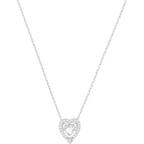 Collar Swarovski Sparkling Dance Heart, blanco, Baño de Rodio - Swarovski, 5272365