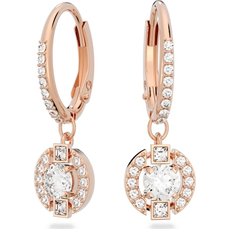 Swarovski Sparkling Dance Round Pierced Earrings, White, Rose-gold tone plated - Swarovski, 5272367