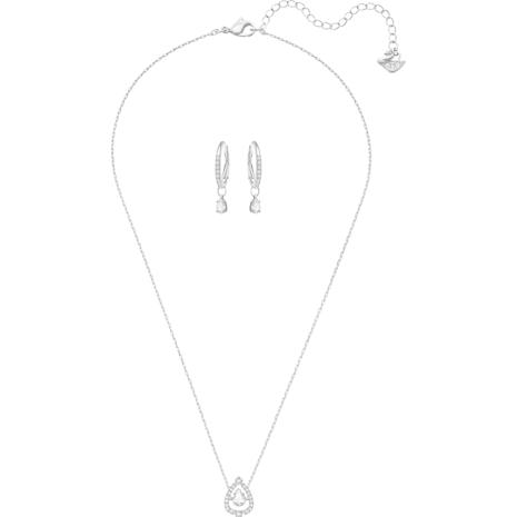 Conjunto Sparkling Dance Pear, pequeño, blanco, baño de rodio - Swarovski, 5272368