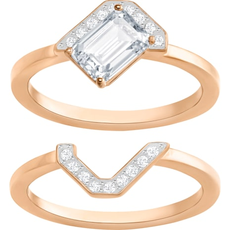 Gallery Square Ring Set, White - Swarovski, 5273486