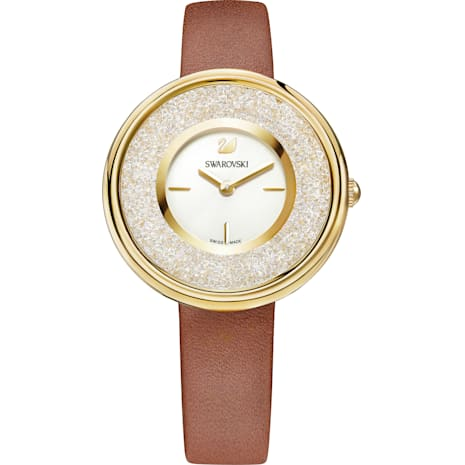 Crystalline Pure Watch, Leather strap, Brown, Gold-tone PVD - Swarovski, 5275040