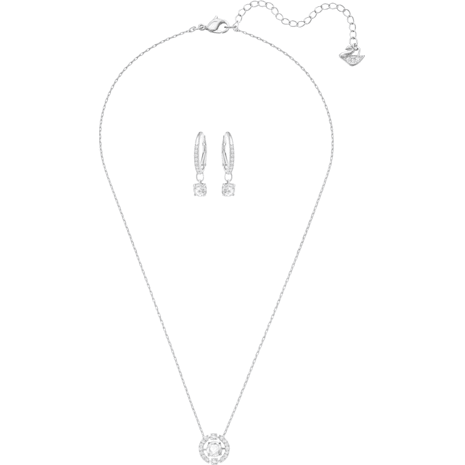 Parure Sparkling Dance Round, petit, blanc, métal rhodié - Swarovski, 5279018