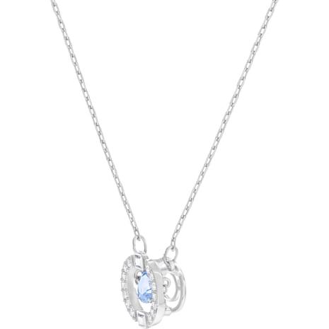 Swarovski Sparkling Dance Round Necklace, Blue, Rhodium plated - Swarovski, 5279425