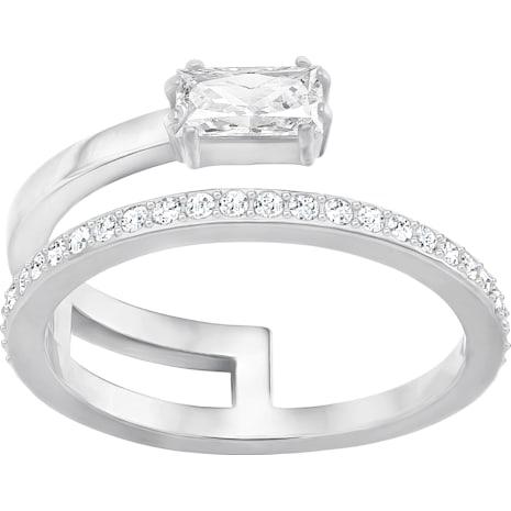 Gray Ring, Small, White, Rhodium Plating - Swarovski, 5286717