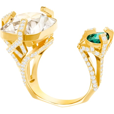 Haven Open Ring, Green, Gold Plating - Swarovski, 5288948