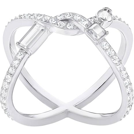Henrietta Cross Ring, White, Rhodium plating - Swarovski, 5289491