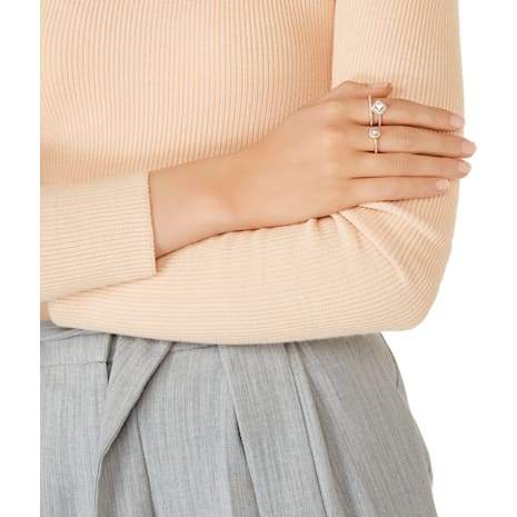 Angelic Pearl Double Ring, White, Rose-gold tone plated - Swarovski, 5289520