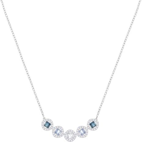 Angelic Square Necklace, Blue, Rhodium plating - Swarovski, 5294622