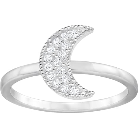Field Moon Ring, White, Rhodium Plating - Swarovski, 5294821