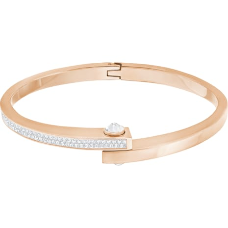 Get Narrow Bangle, White, Rose-gold tone plated - Swarovski, 5294951