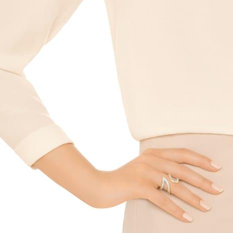 Bague ouverte Groove Wide, blanc, métal doré - Swarovski, 5294991